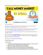 Indian Money Dot com, Indian Money Review - Call Money Market in India
