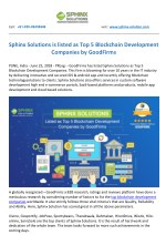 Sphinx Solutions is listed as Top 5 Blockchain Development Companies by GoodFirms