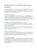 Holistic Health: For a Healthy Mind, Spirit and Body