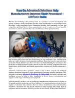 How Do Advantech Solutions Help Manufacturers Improve Their Processes? - Alltronix India
