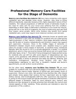 Professional Memory Care Facilities for the Stage of Dementia