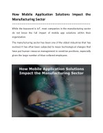 How Mobile Application Solutions Impact the Manufacturing Sector