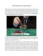 Is Poker Skill Based or Luck Based Game?
