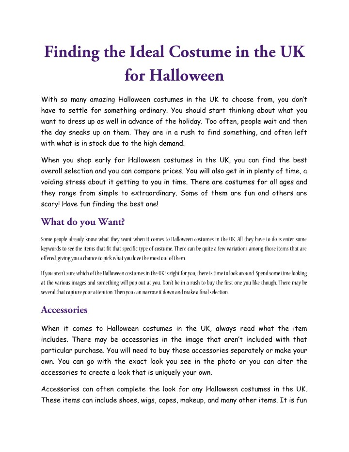 PPT - Finding the Ideal Costume in the UK for Halloween