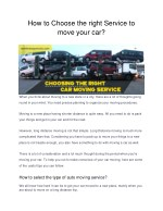How to choose the right service to move a car