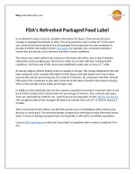 FDA's Refreshed Packaged Food Label