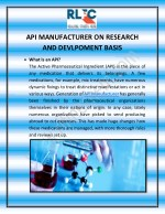 API MANUFACTURER ON RESEARCH AND DEVLPOMENT BASIS