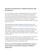 Essential Considerations For Mobile Enterprise App Development