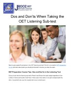 Dos and Don'ts When Taking the OET Listening Sub-test
