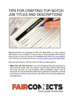 TIPS FOR CRAFTING TOP-NOTCH JOB TITLES AND DESCRIPTIONS