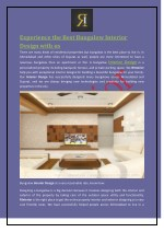 Experience the Best Bungalow Interior Design with us