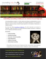 Bulk Billing Counselling in Melbourne for Solution Focused Approach