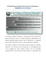 B.P.Ed Physical Education Course Admission, Eligibility, Fees Details