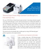 Thermal Paper Printer Help Generate Cash Receipts in a Fast and Easy Way