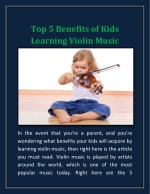 Top 5 Benefits of Kids Learning Violin Music