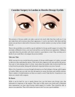 Consider Surgery in London to Resolve Droopy Eyelids