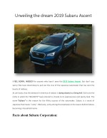 Unveiling the dream 2019 Subaru Ascent