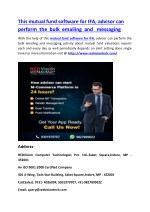 This mutual fund software for IFA, advisor can perform the bulk emailing and messaging