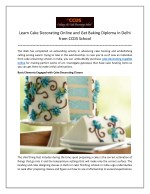 Learn Cake Decorating Online and Get Baking Diploma in Delhi from CCDS School