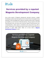 Services provided by a reputed Magento Development Company