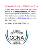 Cisco Training | Networking Courses | CCNA Course Fees