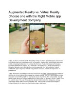 Augmented Reality vs. Virtual Reality Choose one with the Right Mobile app Development Company
