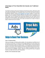 Advantages of Free Classified Ads Canada over Traditional Media