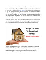 Things You Need to Know About Buying a House in Summer