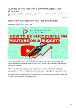 Success on YouTube with a Limited Budget