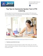 Top Tips for Summarize Spoken Text in PTE Listening