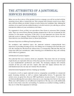 THE ATTRIBUTES OF A JANITORIAL SERVICES BUSINESS