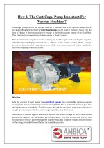 How is the centrifugal pump important for various machines?