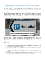 Effective Parking Facility Management Tactics for Your Hospitals