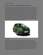 Mercedes A Class - What You Should Know About the Most Desired Car