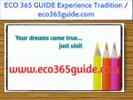 ECO 365 GUIDE Experience Tradition / eco365guide.com
