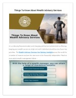 Things To Know About Wealth Advisory Services