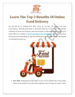 Learn The Top 3 Benefits Of Online Food Delivery