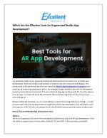 Which Are the Effective Tools for Augmented Reality App Development?