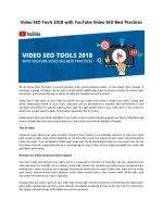 Video SEO Tools 2018 with YouTube Video SEO Best Practices