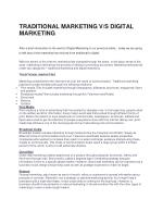 Traditional Marketing v/s Digital Marketing