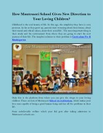 How Montessori School Gives New Direction to Your Loving Children?