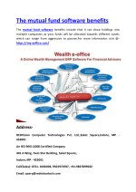 The mutual fund software benefits