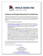 Features of Hiring Professional to Install Fans