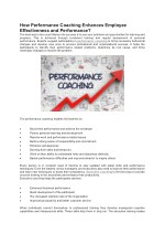 How Performance Coaching Enhances Employee Effectiveness and Performance?