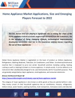 Home Appliance Market Applications, Size and Emerging Players Forecast to 2022