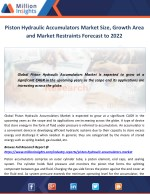Piston Hydraulic Accumulators Market Size, Growth Area and Market Restraints Forecast to 2022