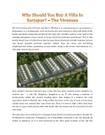 Why Should You Buy A Villa In Sarjapur? - The Vivansaa