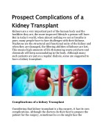 Prospect Complications of a Kidney Transplant