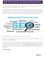 Mobile SERP Survival Tips: Any Technical SEO Checklist Must Have