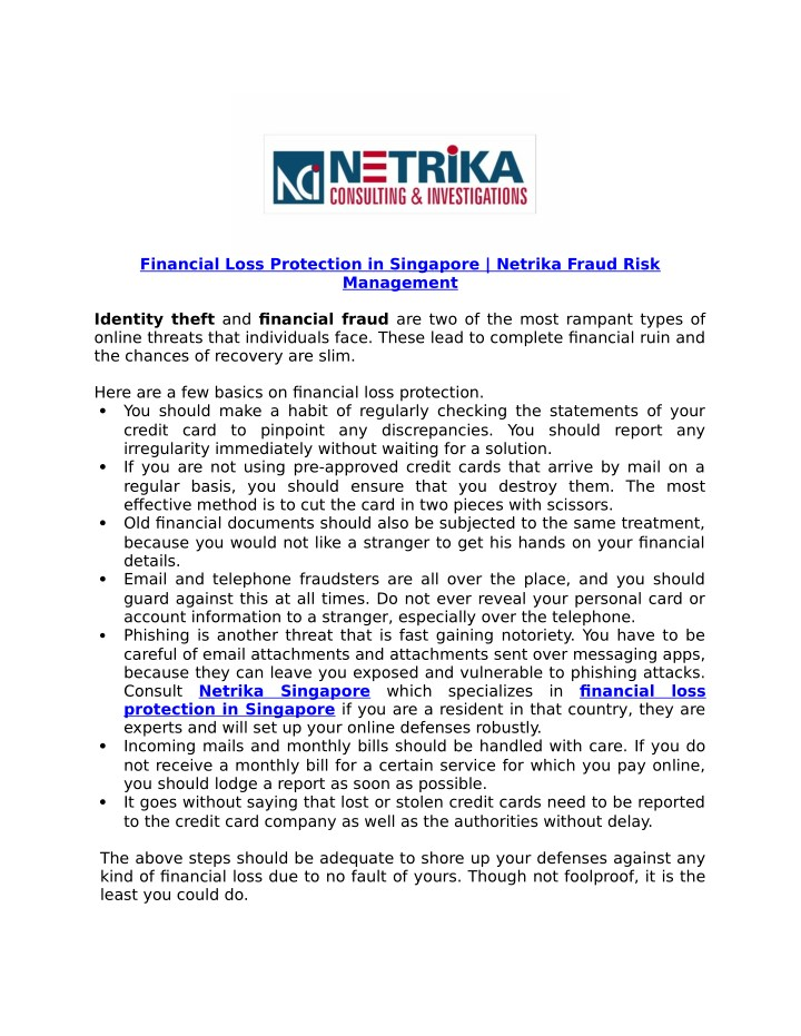 financial loss protection in singapore netrika n.